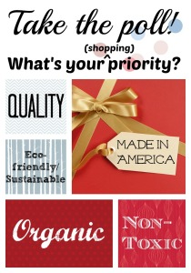 While shopping, what are your priorities? Made in USA? Non-toxic? Organic? Fair Trade?