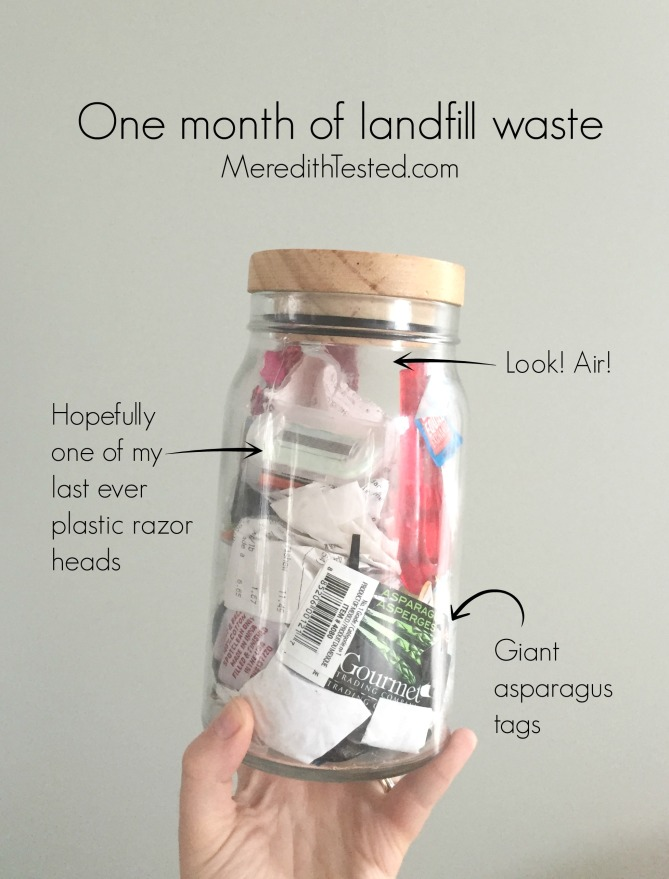 Four months after committing to the zero waste challenge, what's in Meredith's trash jar?