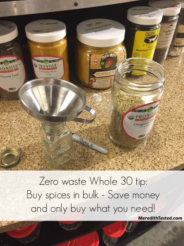 "Have you ever purchased spices in the bulk section? Great tips for college students completing a Whole 30 or eating a paleo diet. Completing a Whole 30 while reducing trash and food waste? Yes, it's possible! Meredith shares her 10 tips for a ""Zero Waste"" Whole 30 on MeredithTested.com"