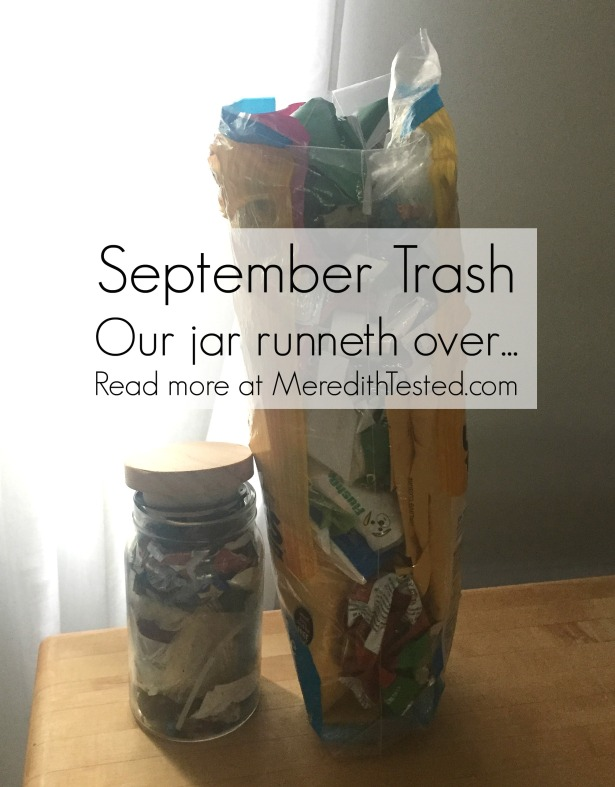 zero waste challenge family of three monthly trash photo