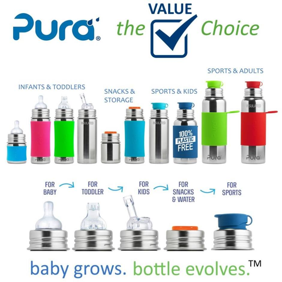 plastic free baby bottle, kid water bottle options from pura stainless