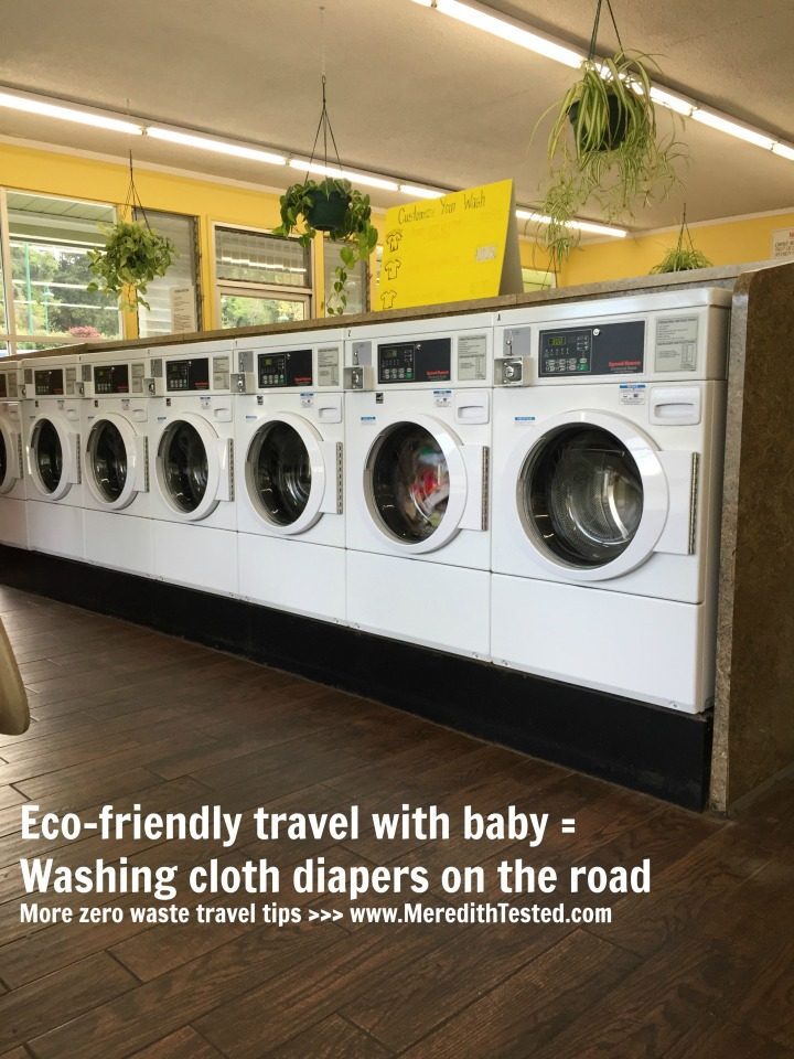 Washing cloth baby diapers at a laundromat - Zero waste travel with kids
